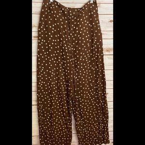 Zara brown and white polka dot wide leg pant Large